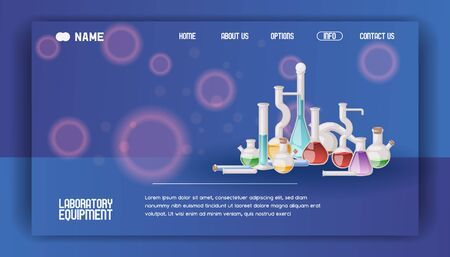 Laboratory equipment banner web design vector illustration. Different glassware and liquid for analysis, test tubes with orange, yellow and red liquid. Chemical and biological experiments.