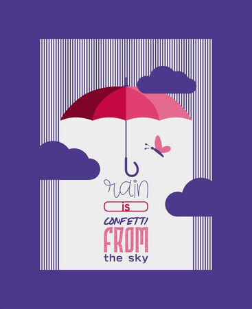 Umbrella or parasol open poster or card vector illustration. Rain is confetti from sky. Colorful protection from rain symbol. Rainy weather sign. Happy mood, luck, safety. Clouds and butterfly.
