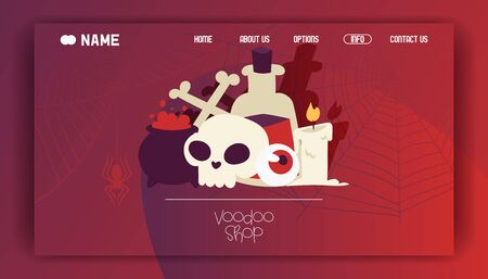 Voodoo shop banner website design vector illustration. Poisonous substances and liquids in cauldron and big bottle. Burning candle, skull with crossed bones and eyeball. Contacts. Illustration