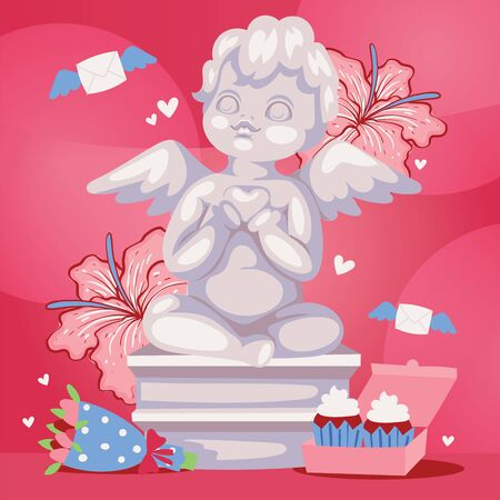 Angelic cupid sculpture background illustration. Romantic angel statue with flowers. Valentines or wedding day background banner, poster.