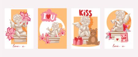 Valentine day cards angel statue illustration. Angelic cupid sculptures with flowers, musical instruments, gifts in cards. Standard-Bild - 127381521