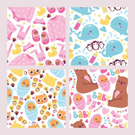 Baby shower seamless pattern set. Cute kids illustration. It s a girl, it s a boy. Celebration of delivery or expected birth of a child. Being mother, motherhood background.