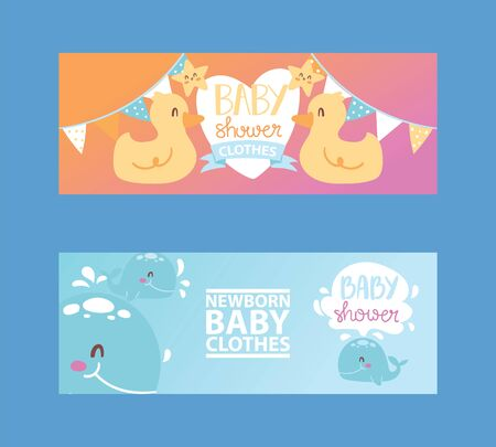 Baby shower girl and boy clothes, illustration. Clothing fornewborn children. Cute cartoon ducks, stars and whales for banner, flyer, invitation, brochure, poster.