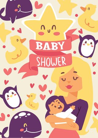 Baby shower illustration. Mother holding her little baby. Smiling mom with cheerful kid. Cute duck, star, whale,penguin. Banner, poster, invitations greeting card.