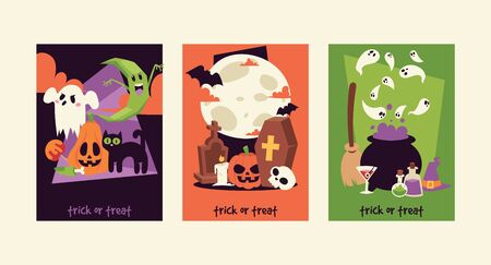 Halloween kids costume trick or treat party costumes characters. Little child people Halloween bat, candy, ghost, zombie kids costume. Childhood fun cartoon boys and girls carnival party website banner. Stock Photo