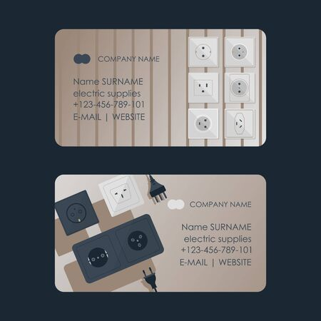 Electric supplies set of business cards vector illustration. Black and white plugs and electrical outlet. Icon of device for connecting electrical appliances, equipment. Plugs and socket. Shop, store.