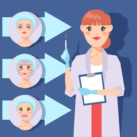 Plastic surgery banner vector illustration. Face correction. Doctor consultation. Liposuction of cheeks, eyes and lips, face cosmetology. Beauty health procedure. Body surgery. Woman with shot.