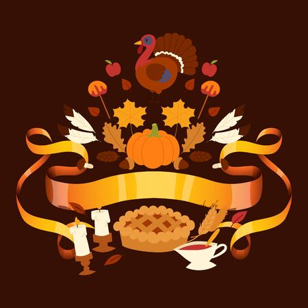 Thanksgiving holiday banner with traditional turkey and fruit pie, pumpkin, apples and mushroom harvest vector illustration. Autumn maple leaf for thanksgiving day greeting. Ilustrace