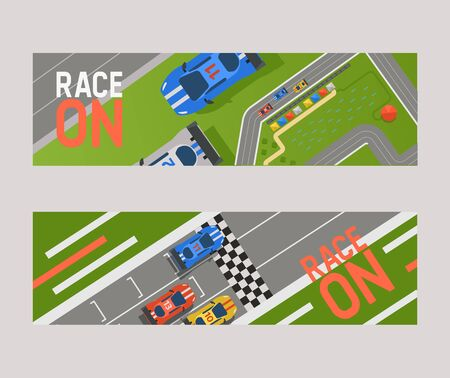 Racing track curve road, car sport track banner vector illustration. Transportation roadway design elements top view constructor for vehicle. Race competition facilities. 向量圖像