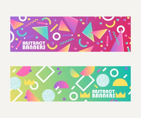 Abstract banners shapes, brochures, flyers vector illustration. Minimalistic design, creative concept, modern background. Abstract geometric element such as triangles, lines, dots.