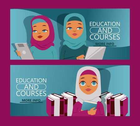 Arab woman on distance education set of banners. Online courses, e-learning, tutorials website vector illustration. Arabic character holding gadgets such as laptop and tablet.