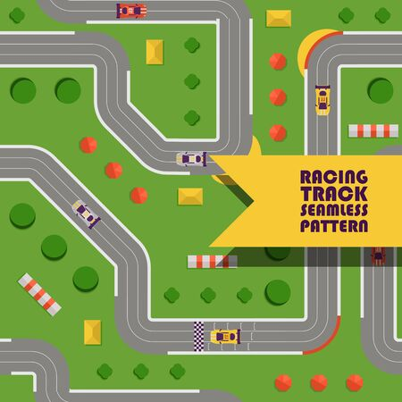 Racing track curved road, car sport seamless pattern vector illustration. Transportation roadway track design elements top view constructor for vehicles and cars. Championship. 스톡 콘텐츠 - 128722730