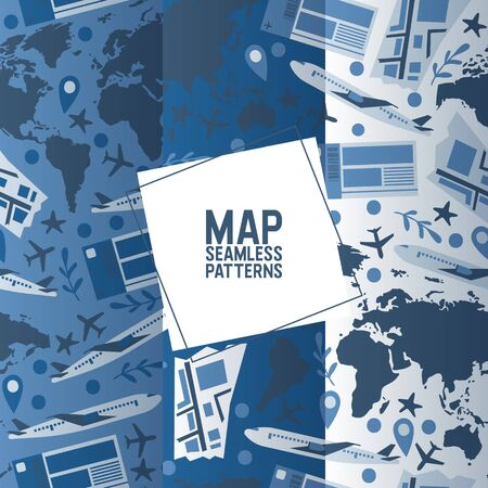 Traveling concept set of seamless patterns vector illustration. Travel textile. Flying airplane over planet with different countries. Tourism and world map. Plane trip texture.