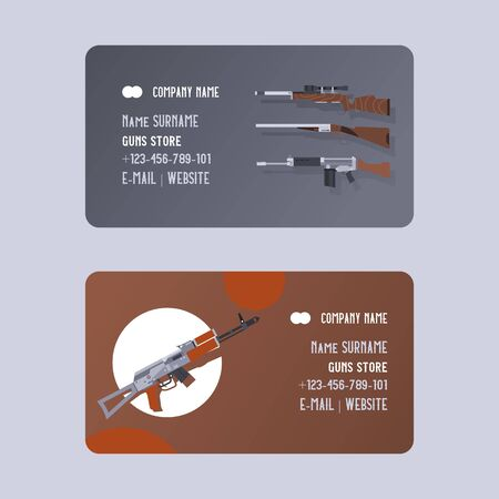 Guns and vinchesters store or shop set of business cards vector illustration. Automatic weapons, machine, pistolsrifle. Military combat firearm. Collection of hotgun and handgun.