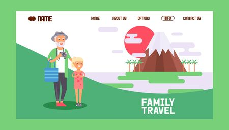 Family travel banner web design vector illustration. Grandfather walking with grandgaughter taking photos of famous seightseeing. Mountain or volcano surrounded by palm tress. Family.