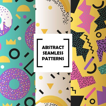 Abstract shapes set of seamless patterns vector illustration. Minimalistic design, creative concept, modern background. Abstract geometric elements such as lines, dots. Donuts and crowns.