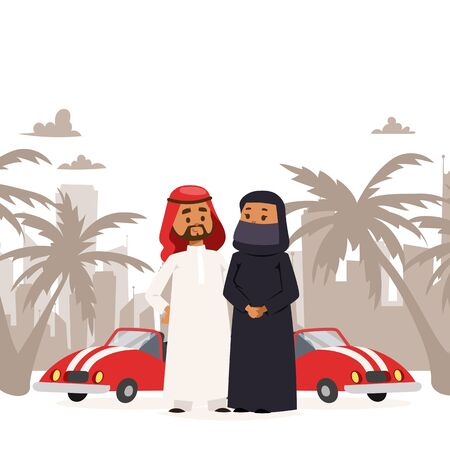 Arab man and woman wearing traditional clothing banner vector illustration. Cartoon characters in muslim clothes standing near sport cars. Palm trees and cityscape on background. Иллюстрация