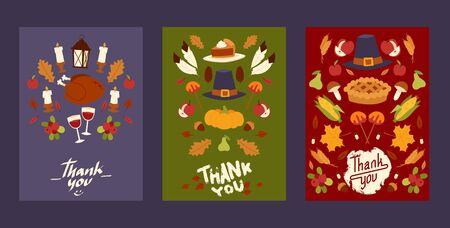Thanksgiving holiday set of cards, posters with traditional turkey and fruit pie, pumpkin, apples and mushroom harvest vector illustration. Autumn maple leaf for thanksgiving day.