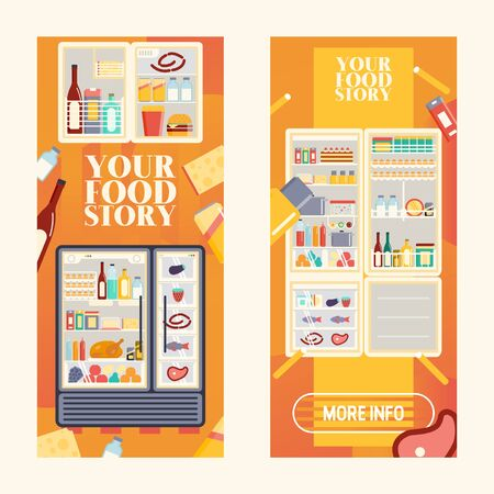 Refrigerator full of products set of banners vector illustration. Open cooler with fruits and vegetables, different sauces and drinks. Meat and fish on shelves of fridge. Your food story.
