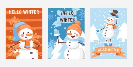 Hello winter set of posters, greeting cards vector illustration. Happy New Year. Nature landscape with Christmas tree, snowman in hat and mittens. Winter holidays and weekends.