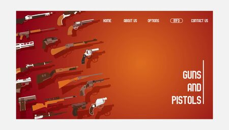 Guns and pistols banner website design vector illustration. Automatic weapons, machine, pistolsrifle. Military combat firearms. Collection of hotgun and handgun. Objects for shooting.