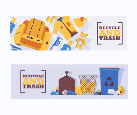 Recycle waste and trash concept banners vector illustration. Littering waste disposed improperly around blue plastic dust bin. Recycled garbage can. Rubbish on ground. Broken chair.