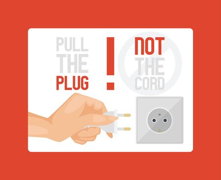 Electric supplies banner vector illustration. Black and white plugs and electrical outlet. Icon of device for connecting electrical appliances, equipment. Pull plug not cord. Human hand with object.