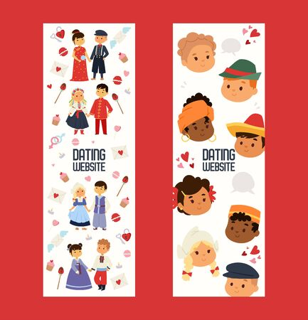 Dating website with kids set of horizontal banners. Children of different nationalities vector illustration. Kids character date in traditional costume and dress. International friendship.