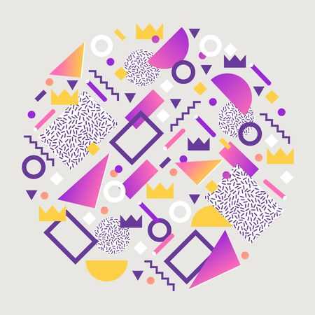 Abstract banner or brochure shapes vector illustration. Minimalistic design, creative concept, modern background. Abstract geometric elements such as triangles, lines, dots, crowns.