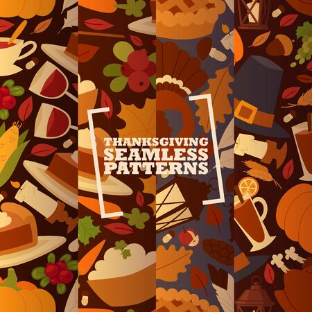 Thanksgiving holiday set of seamless patterns with traditional turkey and fruit pie, pumpkin, apples and mushroom vector illustration. Autumn maple leaf for thanksgiving day.