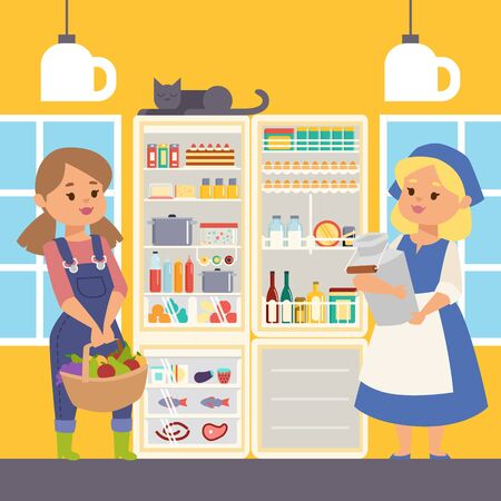Refregerator full of food banner vector illustration. Female farmer characters standing near open cooler holding milk and basket with fruits and vegetables. Meat and fish on shelves.