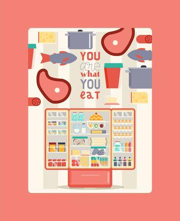 Kühlschrank voller Lebensmittel-Plakat-Vektor-Illustration. Offener Kühler mit Obst und Gemüse, verschiedenen Saucen und Getränken. Fleisch und Fisch in Regalen. Du bist was du isst.