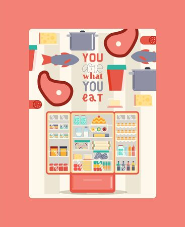 Refregerator full of food poster vector illustration. Open cooler with fruits and vegetables, different sauces and drinks. Meat and fish on shelves. You are what you eat.