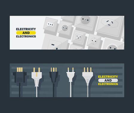 Conjunto de electricidad y electrónica de ilustración de vector de banners. Enchufes y toma de corriente en blanco y negro. Icono de dispositivo para conectar aparatos eléctricos, equipos. Enchufes y zócalos.