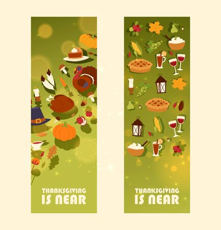 Thanksgiving is near set of banners with traditional roasted turkey and fruit pie, pumpkin or corn and mushroom harvest vector illustration. Autumn maple leaf for thanksgiving day greeting.