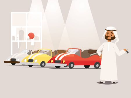 Arab businessman wearing traditional clothing near car park banner vector illustration. Cartoon character in muslim clothes standing near sport vehicles. Arabic business person.