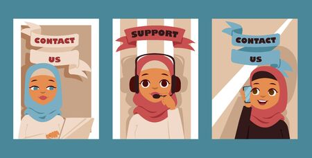 Arabic woman in call center occupation set of posters or cards. Customer support service characters. Vector illustration of arab or muslim people. Girls talking on mobile phone support.  イラスト・ベクター素材