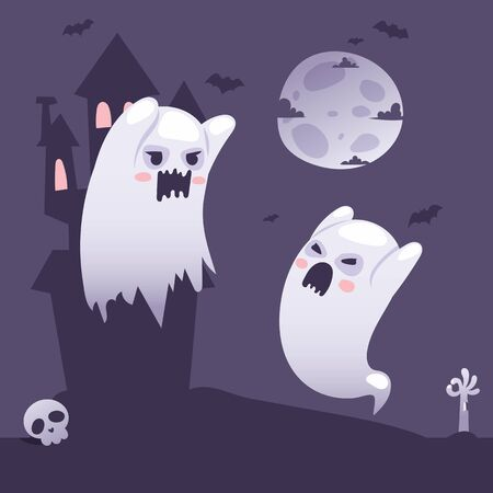 Halloween ghosts outside a haunted old castle at night, cartoon style vector illustration. Ghost parent teaches ghost child to scare people