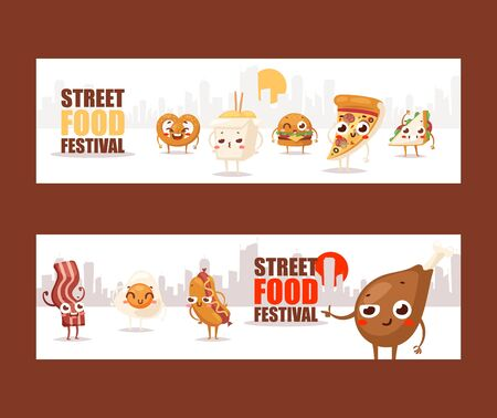 Fast food funny cartoon characters, vector illustration. Banners advertising a street food festival. Pizza, chicken drumstick, hotdog and hamburger characters with smiling faces