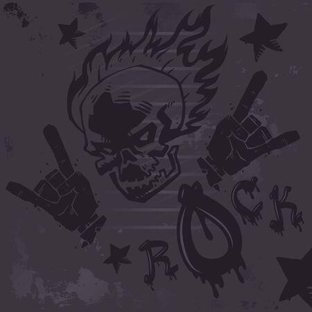 Grunge hard rock graffiti poster, vector illustration. Burning skull tattoo, rock club wall decoration, metal music band album cover, punk t-shirt print Ilustração