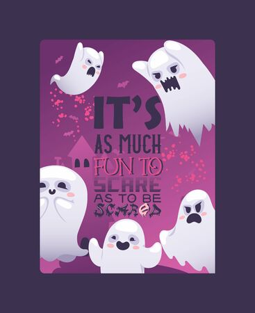 Halloween night ghosts invitation vector illustration card or poster. Screaming and angry, smiling and happy ghosts on halloween night celebration. It is as much fun to scare as to be scared