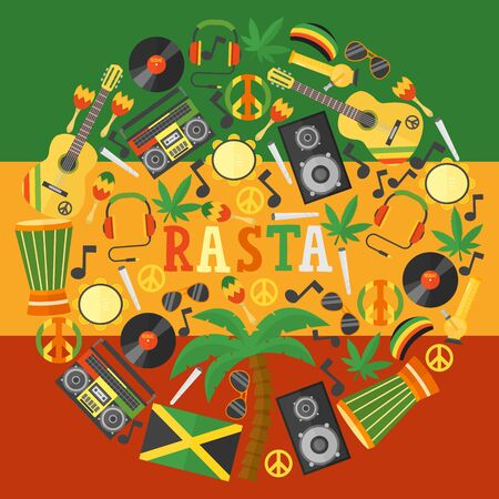 Jamaica rastafarian icons in round frame composition, vector illustration. Flat style symbols of Jamaican culture and reggae music. Isolated items of rastafarian lifestyle