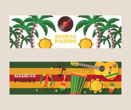 Reggae party invitation, vector illustration. Jamaican style music festival announcement. Colorful flat design banners for reggae event