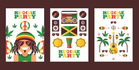 Reggae party invitation, vector illustration. Jamaican style music festival announcement. Simple flat design banner for reggae event Ilustracja