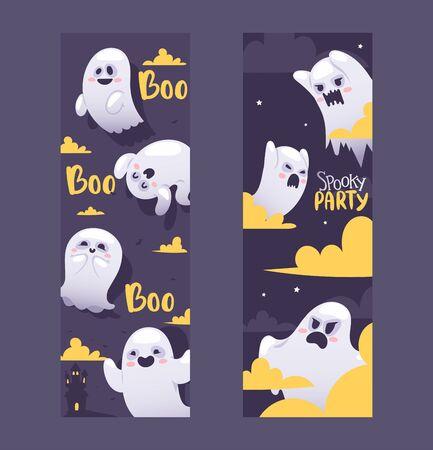 Halloween-Nachtgeister Einladung Vektor-Illustration-Banner. Fliegende Geister mit verschiedenen Emotionen, lustige Zeichentrickfiguren. Schreiende und wütende, lächelnde und glückliche Geister in der Halloween-Nacht