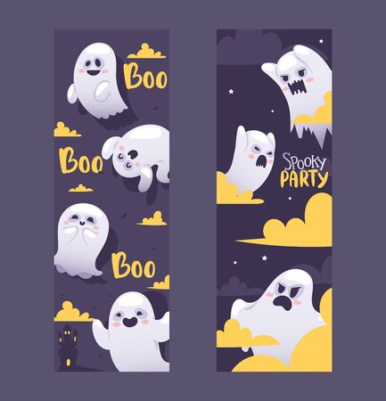 Halloween night ghosts invitation vector illustration banners. Flying spirits with various emotions, funny cartoon characters. Screaming and angry, smiling and happy ghosts on halloween night Illustration