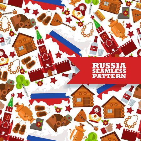Rosyjskie symbole w jednolity wzór, ilustracji wektorowych. Na białym tle płaskie ikony rosyjskiej kultury i tradycji. Mapa Rosji w kolorach flag, kreml, niedźwiedź, bałałajka i samowar
