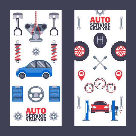 Car service banners, vector illustration. Professional auto maintenance center, vehicle repair, diagnostics and tuning. Car equipment icons, tools, spare parts and instruments