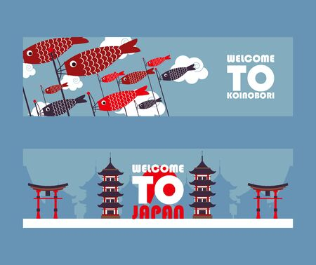 Japan tour banners, vector illustration. Symbols of Asian culture, popular tourist landmarks. Pagoda, torii gate and koinobori windsocks. Travel agency website advertisement concept welcome to Japan Ilustração