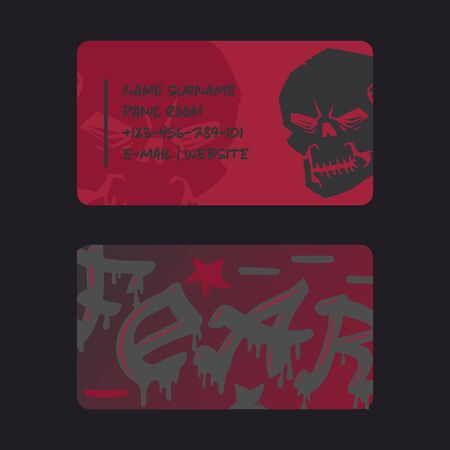 Underground rock club business card design, vector illustration. Stylized skull on red background, tattoo studio, escape room quest, metal rock music band Stock Illustratie